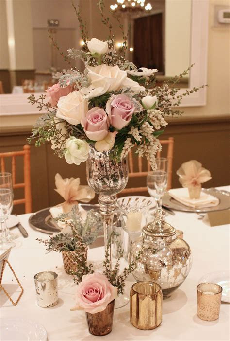 vintage style flowers, mercury glass, elegant wedding