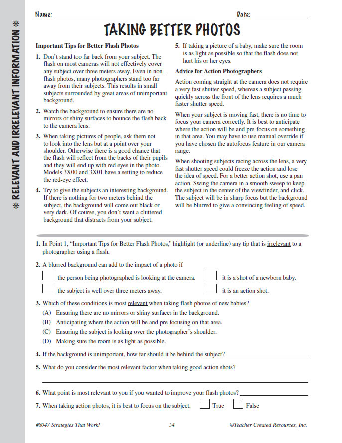 Reading Prehension Grade 7 8 Practice Test