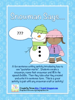 Snowman Says Writing with Quotation Marks