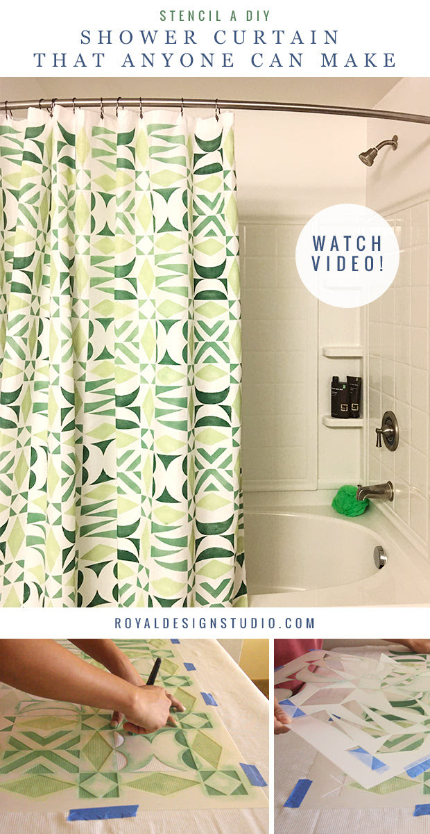 How To Make A Diy Shower Curtain With Modern Stencil Patterns