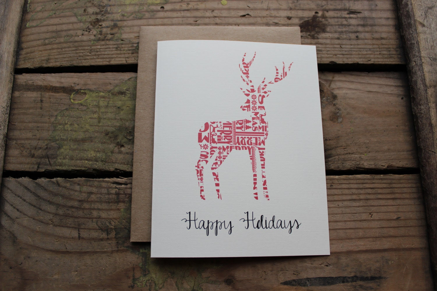 Rustic Christmas Cards / Happy Holidays Cards / Set of 10 / Holiday Cards / Greeting Cards - PontoMountainPaper
