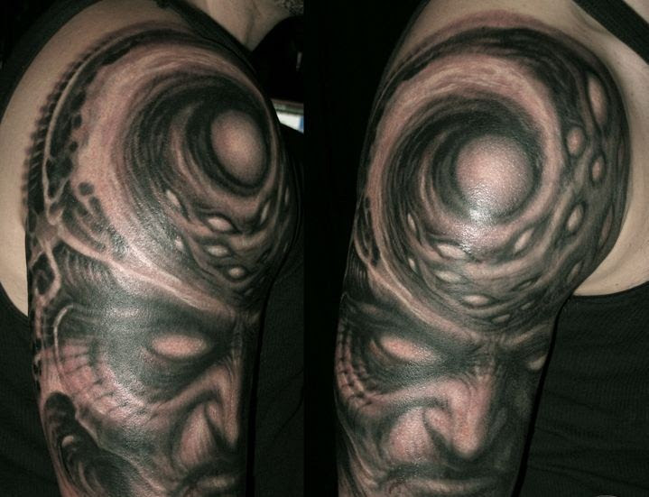Creative Half Sleeve Tattoo Designed By Paul Booth Design Of