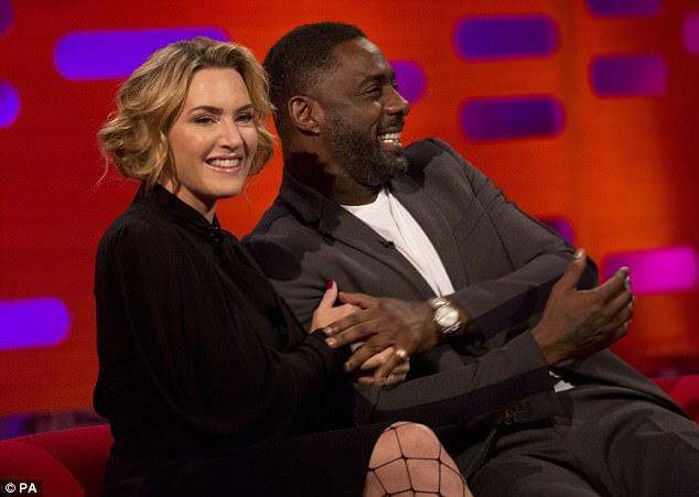 Toe the line:Kate Winslet has admitted her co-star Idris Elba 'loves feet' - a revelation she discovered during filming for The Mountain Between Us