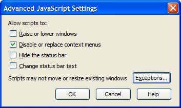JavaScript move, resize exceptions