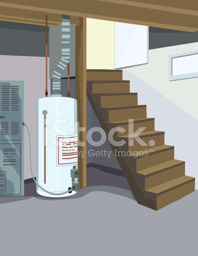 60670438 vertical perspective of basement with hot water tank and stairs