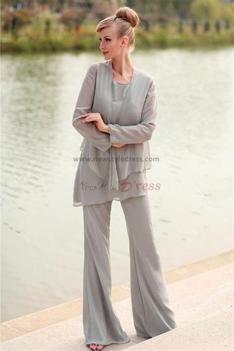 elegant gray chiffon  piece mother   bride