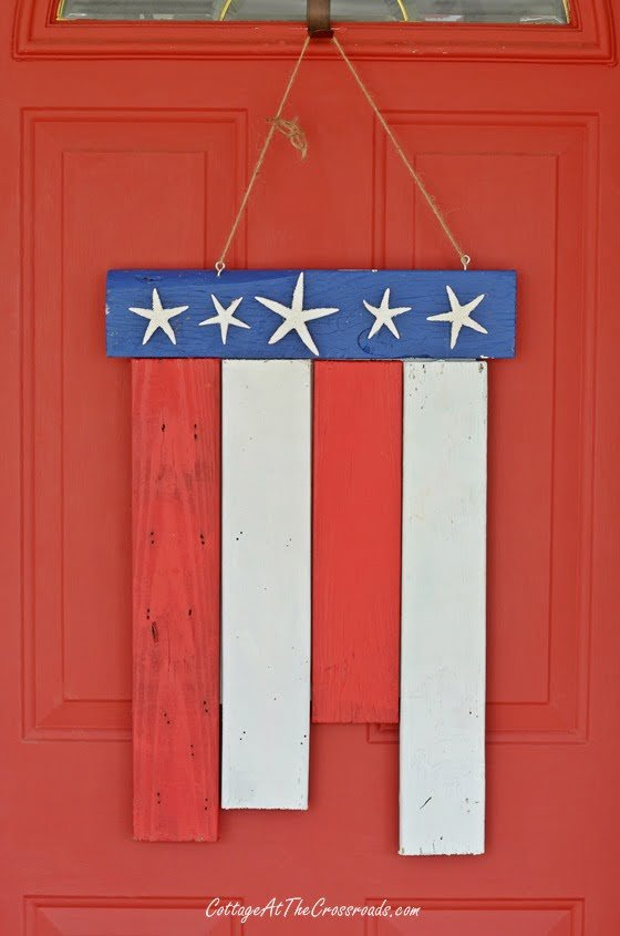 From My Front Porch To Yours-How I Found My Style Sundays-Patriotic door decoration | Cottage at the Crossroads