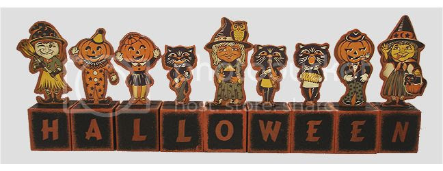 Vintage Halloween wood block set photo X43388.jpg