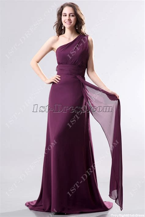 dark purple  shoulder chiffon evening dress  trainst dresscom