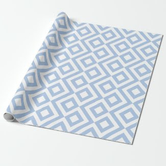 Light Blue and White Chevrons Wrapping Paper