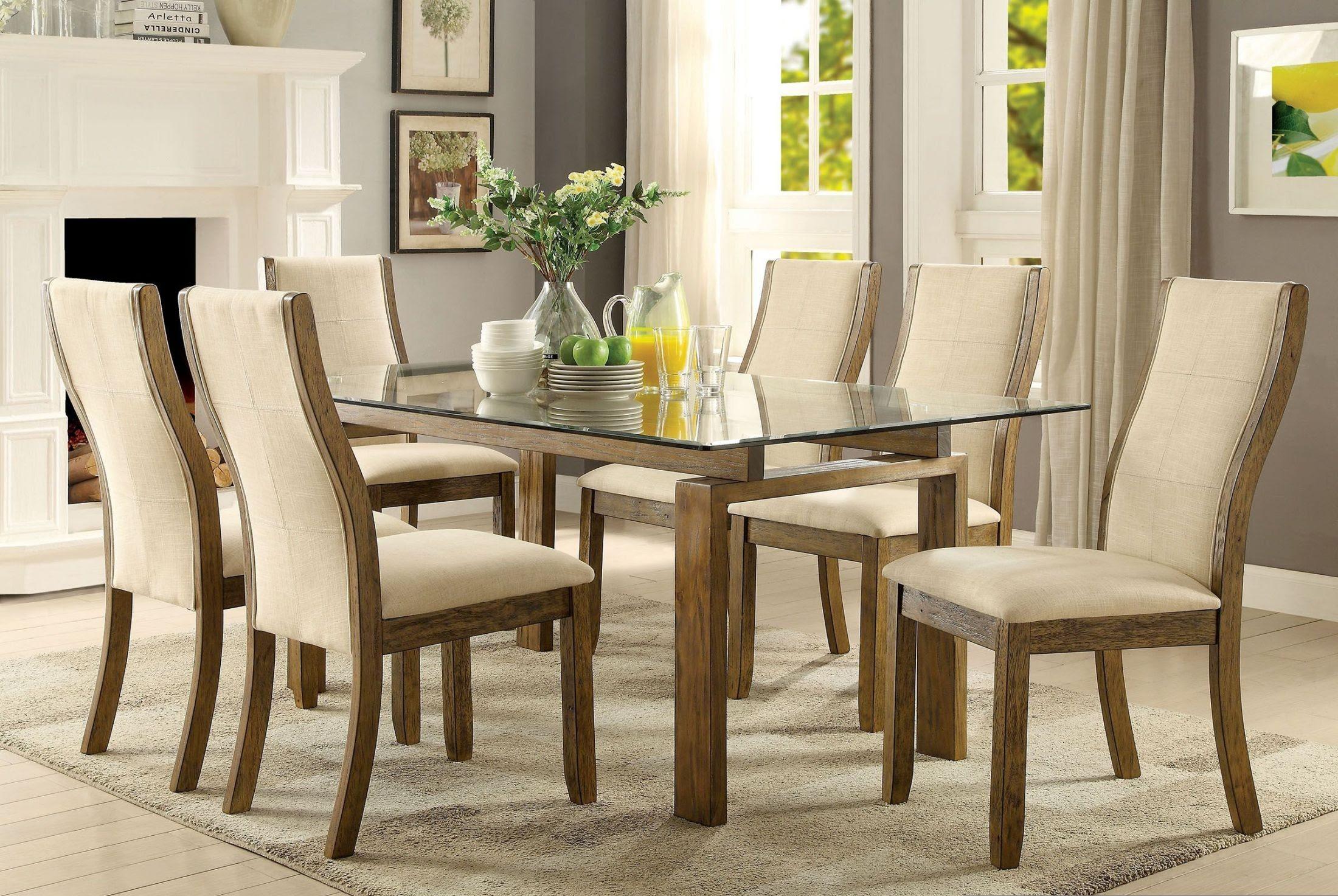 Onway Oak Rectangular Glass Top Dining Room Set, CM3461TTABLE, Furniture of America