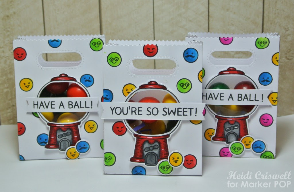 """The sentiments are also from the """"Sweet Smiles"""" set. I filled the bags with gumballs and they are ready for the kiddos!"""