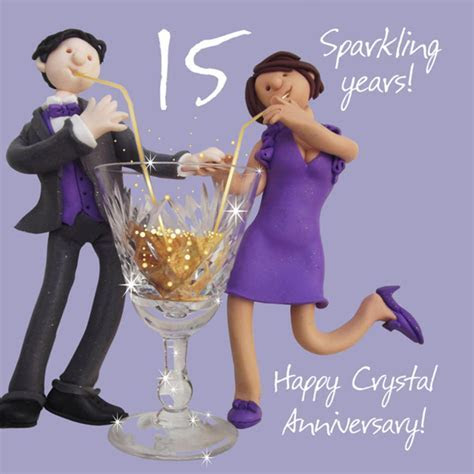 Happy 15th Crystal Anniversary Greeting Card One Lump or