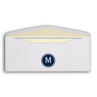 Yellow and Navy Chevron Monogram Envelope