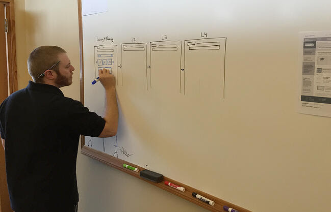Drawing web design ideas on a whiteboard