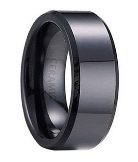 Ceramic Wedding Band :: Flat Profile with Beveled Edges