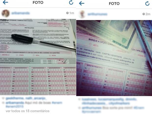 Fotos de cartões de resposta do Enem foram postadas no início da tarde deste sábado (Foto: Reprodução/Instagram)