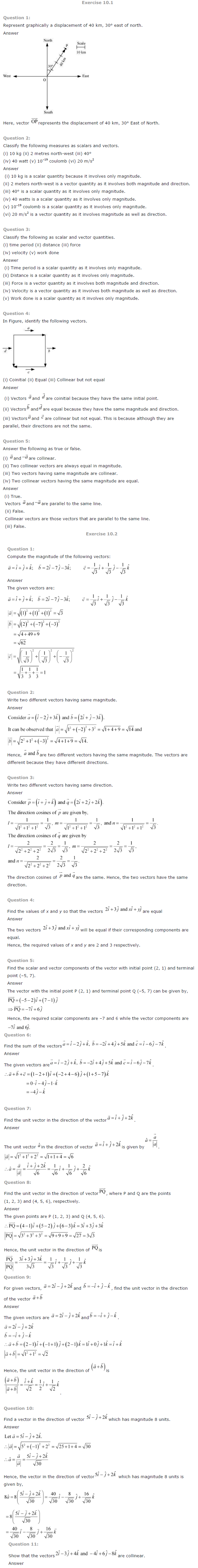 NCERT Solutions for Class 12 Maths Chapter 10 Vector Algebra ex10.1