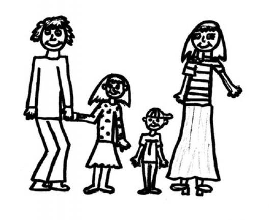 Dibujo De Una Familia Papa Hija Hijo Y Mama Para Colorear Esposos