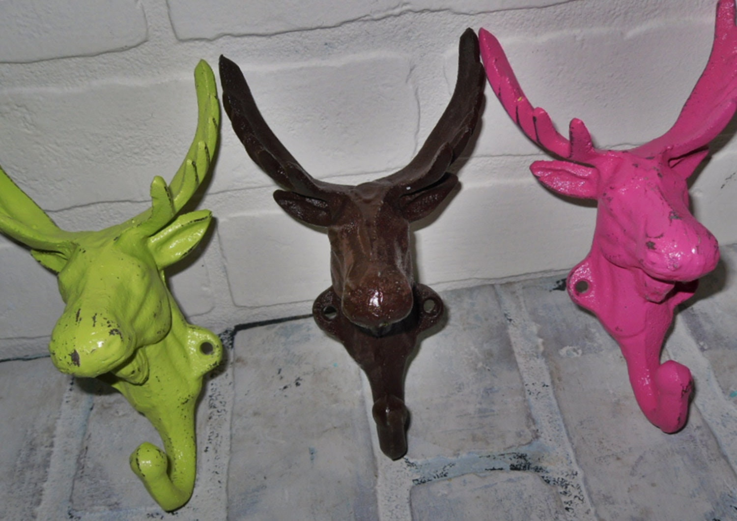 Trio Moose Head Hook / Bright Wall Decor / by Theshabbyshak