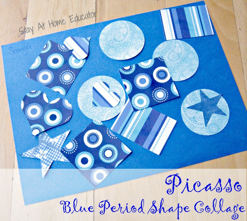 Picasso blue period shape collage - Stay At Home Educator