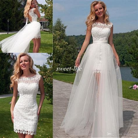 Discount 2016 Lace Beach Wedding Dresses With Detachable