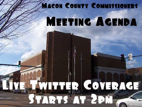 Title card for the live coverage of the Macon County commissioners meeting  Photo and Graphics by Bobby Coggins