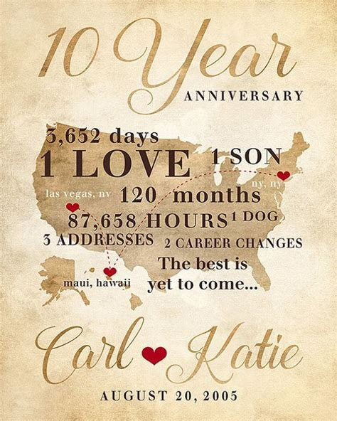 25  best ideas about Ten Year Anniversary Gift on