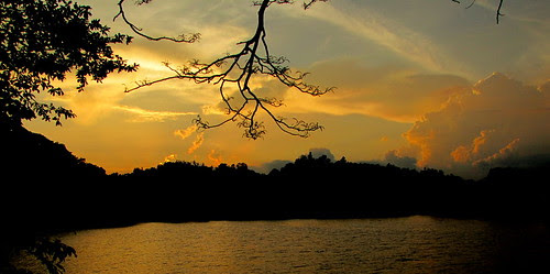 sunsets over Kandy Lake