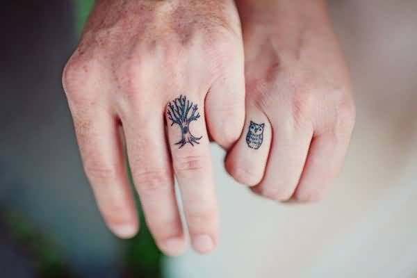 Simple Small Tree And Owl Tattoo Design For Sweet Couple