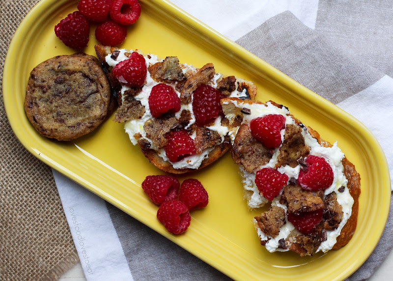 Chocolate Chip Cookie Toast with Ricotta and Raspberries // Loves Food, Loves to Eat