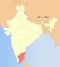 Location of Tamil Nadu (marked in red) in India