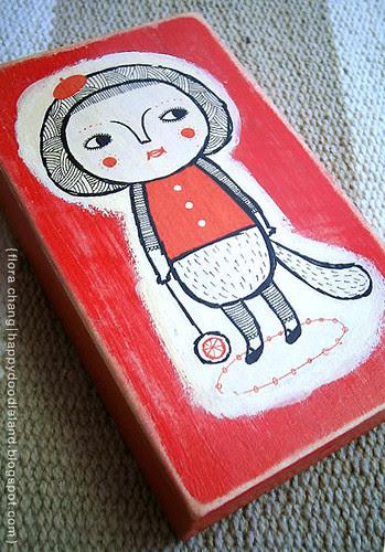 Girl on Wood Block II