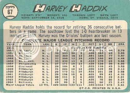 #67 Harvey Haddix (back)
