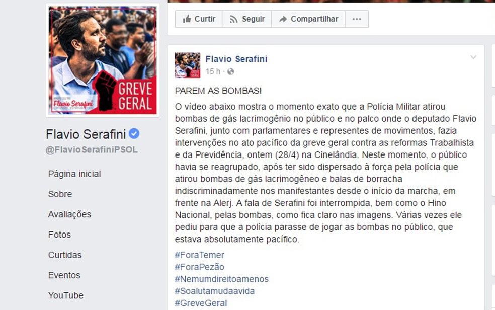 Deputado Flávio Serafini relata agressão de PM (Foto: Reprodução/ Facebook)