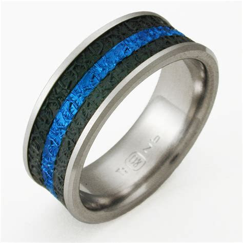 Newman 3 titanium ring with niobium   Titanium Wedding