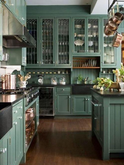 Teal cabinets | Kitchens | Pinterest