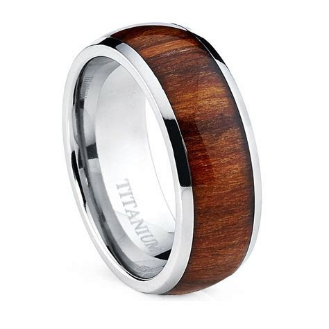 Oliveti Men's Dome Titanium Ring with Real Santos Rosewood