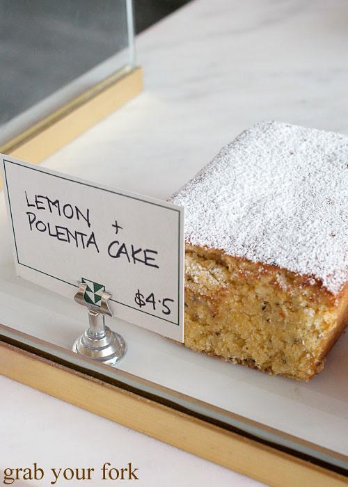 lemon polenta cake at brickfields chippendale