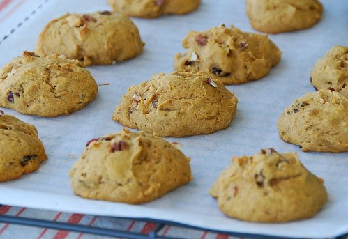 pumpkin spice cookies with cranberries and pecans