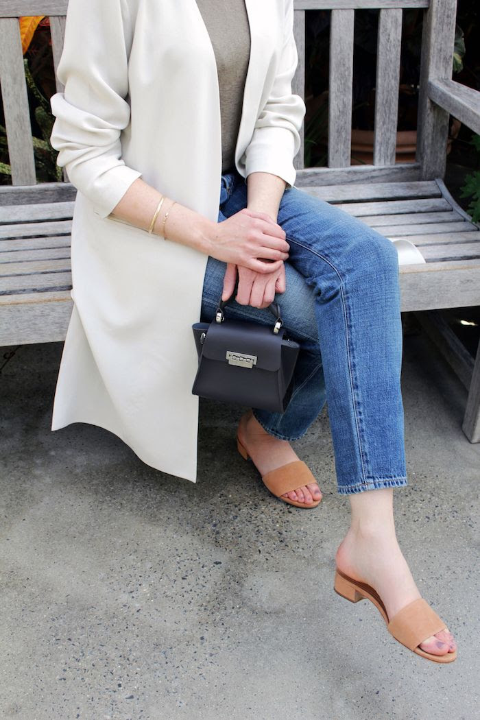 Eileen Fisher Silk White Jacket Green Linen T Shirt Cropped Denim Tan Suede Mule Sandals Grey Mini Bag Low Bun Neutral Spring Outfit Le Fashion Blog