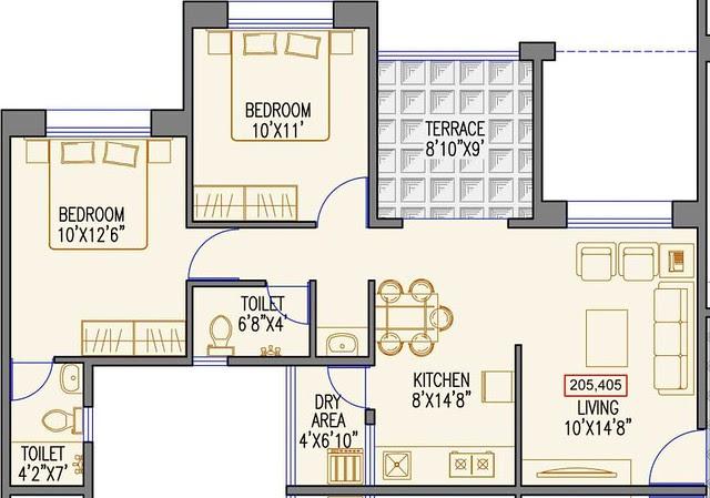 637 sq.ft. Carpet + Terrace - 2 BHK Flat for Rs. 25 Lakhs at Urbangram Kirkatwadi on Sinhagad Road Pune 411 024 - D2 2nd & 4th Floor