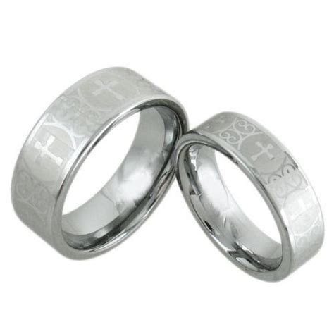 Silver Tungsten Wedding Band w/ Baroque Cross.Wholesale