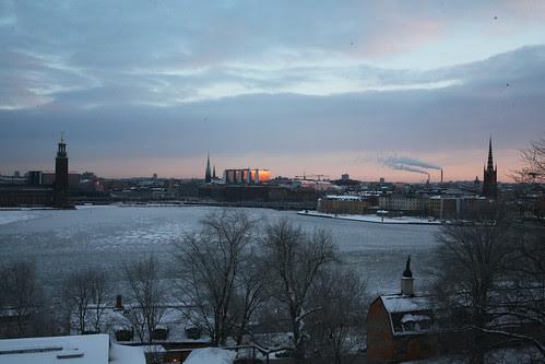 smörig solnedgång från söder