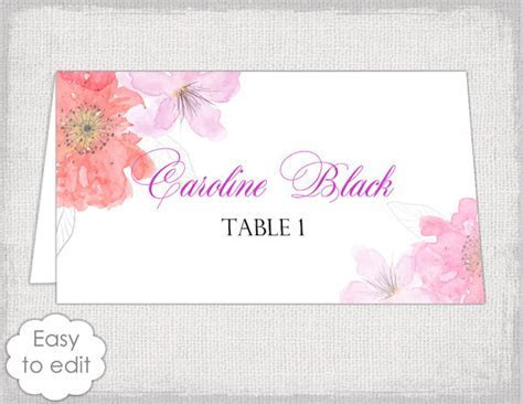Place card template with a pink and red Watercolor Flower