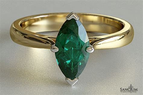 Emerald Marquise Solitaire Engagement Ring New Zealand