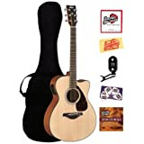 Yamaha FSX700SC Small Body Cutaway Acoustic-Electric Guitar Bundle with Gig Bag, Tuner, Instructional DVD, Strings...