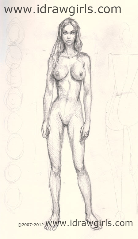 How to draw woman front view