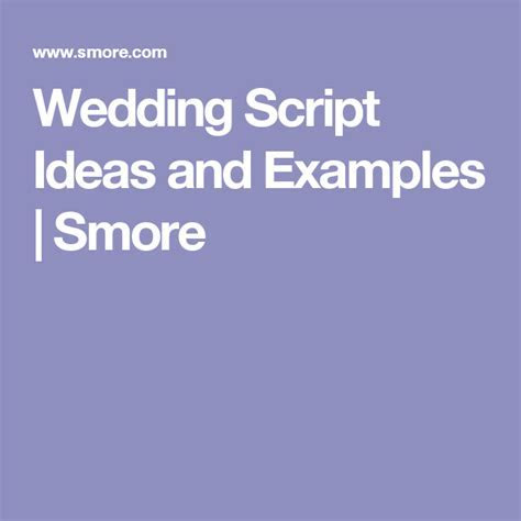 Wedding Script Ideas and Examples   Smore    Anything