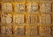 Maya stucco glyphs diplayed in the museum at P...